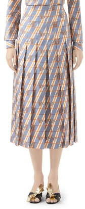 Gucci Giraffe Heritage Twill Pleated Midi Skirt