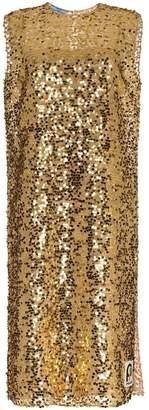 Prada sleeveless sequin embellished midi dress
