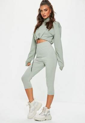 Missguided Green Cropped Jersey Leggings