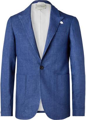 Oliver Spencer Navy Brookes Slim-Fit Unstructured Linen Blazer