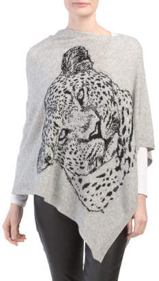 Made In Italy Wool Blend Poncho With Panther