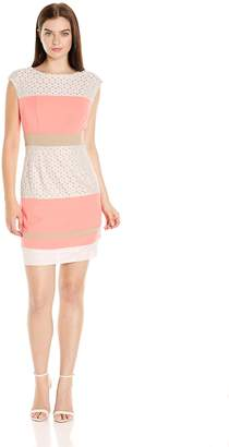 217c10b5ef2 Sandra Darren Women s 1 Pc Extended Shoulder Crepe   Lace Sheath Dress