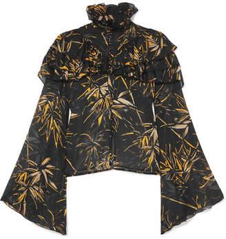 Rodarte Ruffled Printed Silk-chiffon Blouse - Black