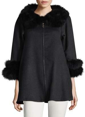 La Fiorentina Women's Fox Fur-Trimmed Wool Swing Coat - Grey, Size x-large