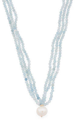 Made In Usa 14k Gold 3 Row Aquamarine And Pearl Necklace