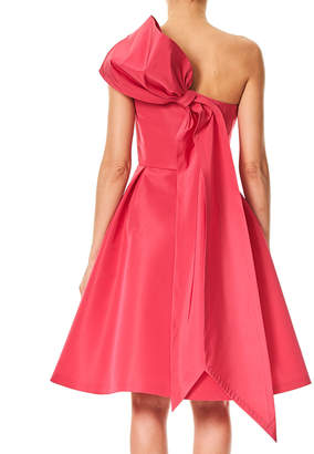 Carolina Herrera One-Shoulder Cocktail Dress with Back Bow Detail