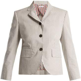 Thom Browne Striped Seersucker Blazer - Womens - Light Grey