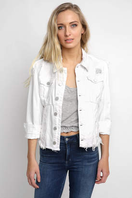 Blank NYC White Cropped Uneven Frayed Hem Denim Jacket