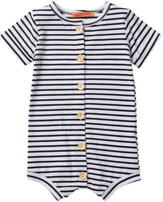 Funkyberry Striped Button Down Romper (Baby & Toddler Girls)