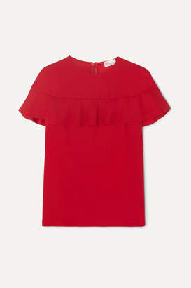 RED Valentino Camicia Cape-effect Ruffled Crepe Top