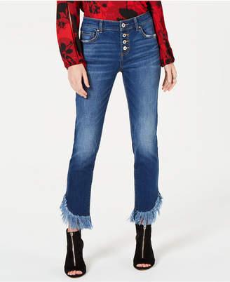 INC International Concepts I.n.c. Fringe-Hem Button-Front Straight-Leg Jeans
