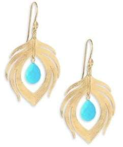 Annette Ferdinandsen Fauna Peacock Feather Natural Turquoise& 14K Yellow Gold Earrings