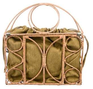 Charlotte Olympia Woven Raffia Cage Handle Bag