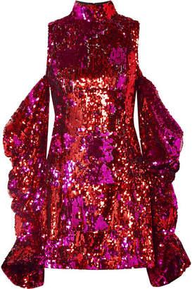 Halpern - Cold-shoulder Sequined Tulle Mini Dress - Pink