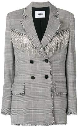 MSGM crystal embellished houndstooth jacket