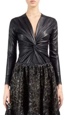 Stella McCartney Faux Leather Twisted Bodysuit