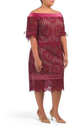 Plus Off The Shoulder Lace Sheath Dress