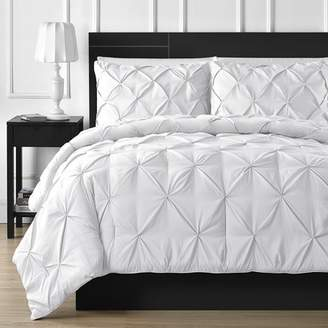Double-Needle Durable Stitching Staniey Collection 3-piece Pinch Pleat Comforter Set