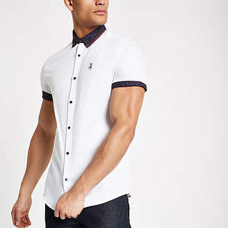 River Island White paisley print collar button-down shirt