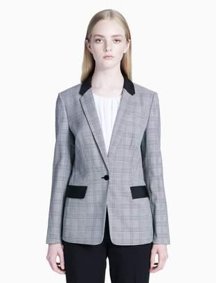 Calvin Klein glen plaid one button jacket