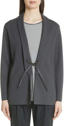 Fabiana Filippi Leather Tie Wool Jacket