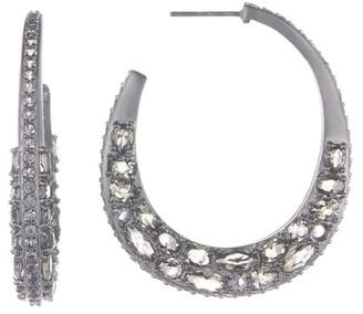 Freida Rothman Black Rhodium Vermeil Rose d'Or Textured Hoop Earrings