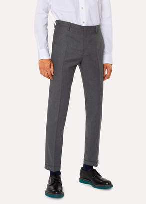 Paul Smith Men's Slim-Fit Light Grey Wool And Cashmere-Blend Pants