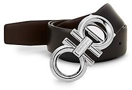 Salvatore Ferragamo Men's Leather Metal Logo Belt