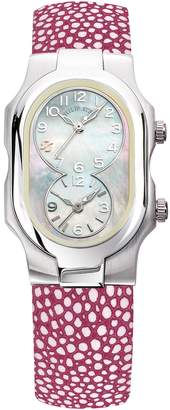 Philip Stein Teslar Women's Stainless Steel & Mother of Pearl Dual Time Zone Watch, 42mm x 27mm