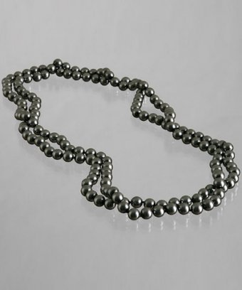 Kenneth Jay Lane dark grey pearl beaded long necklace