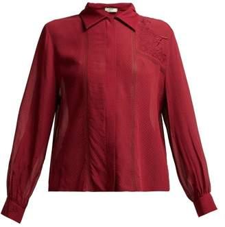 Fendi Logo Embroidered Chiffon Blouse - Womens - Dark Red