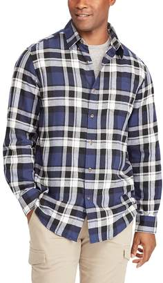 Chaps Big & Tall Regular-Fit Plaid Flannel Performance Button-Down Shirt