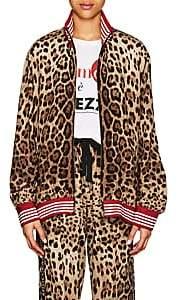 Dolce & Gabbana Women's Logo-Striped Leopard-Print Crepe Track Jacket