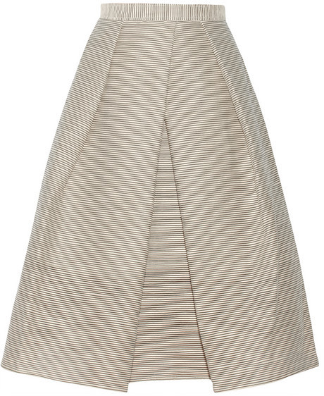 Tibi Embroidered organza midi skirt