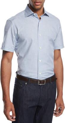 Ermenegildo Zegna Check Seersucker Short-Sleeve Shirt, Blue/White
