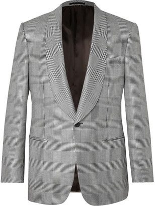 Kingsman Black Prince Of Wales Checked Wool And Silk-Blend Tuxedo Jacket