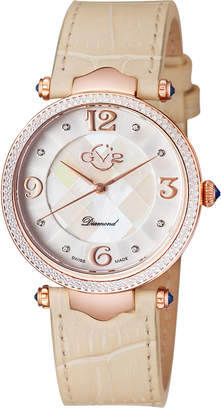 BEIGE Gv2 Swiss Quartz Sassari Diamond Leather Strap Watch