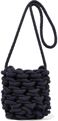 Alienina Woven Cotton Shoulder Bag - Navy