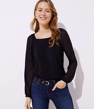 LOFT Petite Swiss Dot Sleeve Top
