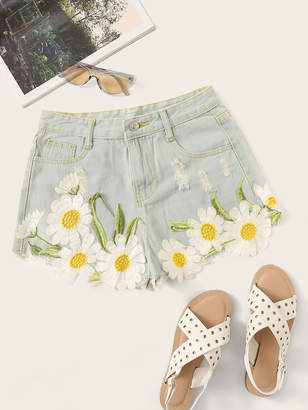 Shein Floral Embroidered Stitch Detail Denim Shorts
