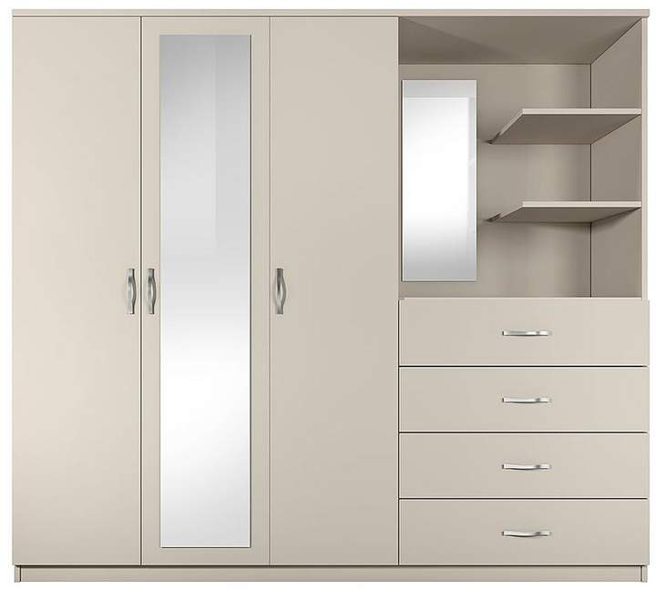 Peru 3 Door, 4 Drawer Mirrored Combi Wardrobe