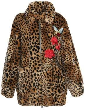 Ainea Floral-Appliquéd Leopard-Print Faux Fur Coat