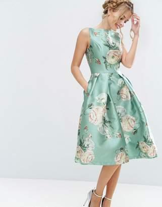 Chi Chi London Satin Midi Dress In Floral Print $95 thestylecure.com