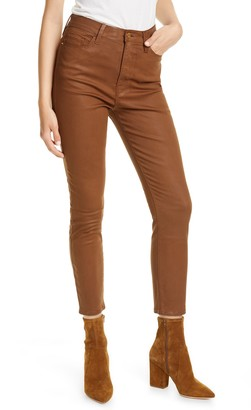Frame Ali Coated High Waist Crop Cigarette Jeans