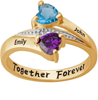 FINE JEWELRY Personalized Couple's Name Heart Birthstone Bypass Ring