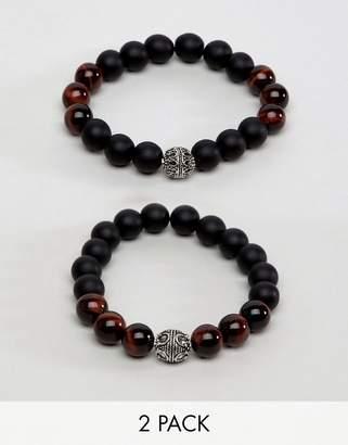 Aldo Brown Bead & Wood Bracelet In 2 Pack