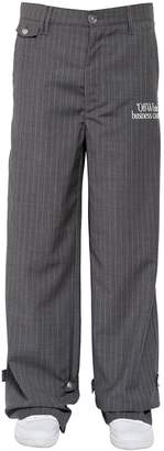 Off-White Off White Oversized Pinstriped Wool Wide Leg Pants