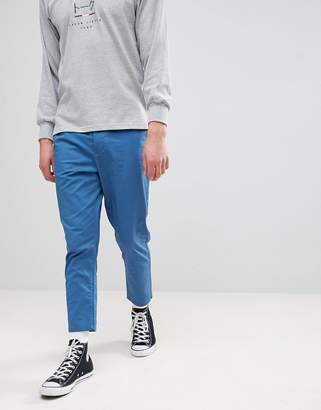 Asos Tapered Cropped Chinos In Blue
