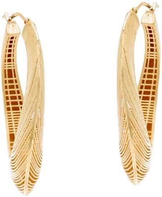 Arte D'oro Arte d' Oro Satin Texture Oval Hoop Earrings 18K Gold