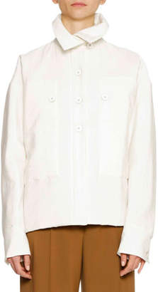 Jil Sander Button-Front Long-Sleeve Shirt Jacket with Oversized Patch Pockets